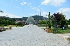 Champ de paysage avec la montagne éloignée Georgia Tibilisi photographie stock libre de droits