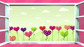 Champ des fleurs sous forme de coeur de différentes couleurs à l'intérieur d'une fenêtre blanche qui s'ouvre sur un fond rose banque de vidéos
