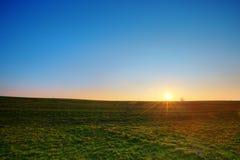 Coucher du soleil et champ vert Photo stock