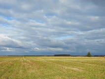 Champ gentil et beau ciel nuageux, Lithuanie images stock