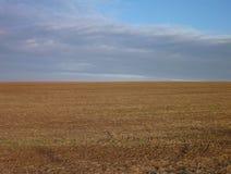 Champ labouré avec le sol brun Photo libre de droits
