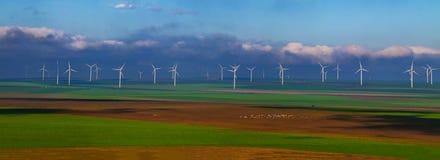 Champ rempli de moulin de vent Photos libres de droits