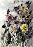 Champ rustique des roses et des lupines avec des papillons Photo libre de droits