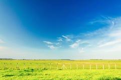 Champ vert avec quelques barrières un beau jour de ciel bleu photographie stock libre de droits