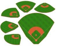 Champ vert de base-ball avec la ligne blanche vecteur de majoration Photographie stock