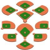 Champ vert de base-ball avec la ligne blanche vecteur de majoration Photo stock