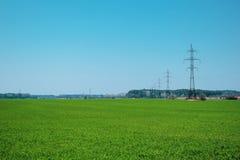 Champ vert et ciel bleu, dans les lignes ?lectriques de distance avec beaucoup de fils image stock