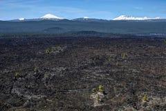 Champ volcanique chez la courbure proche et le Sunriver de Lava Butte images stock