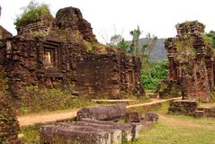 Champa architecture. My son ruin complex of the champa towers and temples built of bricks in Vietnam Stock Images