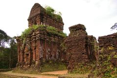Champa architecture. Tower at the champa architecture complex My Son in Vietnam Royalty Free Stock Photography