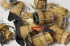 Champage corks. Background of champagne corks and wire 'cages Royalty Free Stock Photo