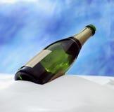 champage fles in de sneeuw royalty-vrije stock foto