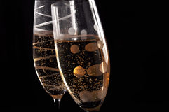 Champage glasses on black background. Two Champage glasses on black background Royalty Free Stock Photography