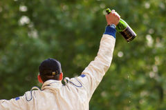 Champagne über Kopf Lizenzfreie Stockfotos