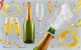 CHAMPAGNE Γυαλιά, μπουκάλι, παφλασμός τρισδιάστατο σύνολο ει&kapp Στοκ Φωτογραφία