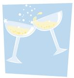 Champagne. Illustration of two champagne coupe glasses Royalty Free Stock Image