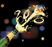 Champagne. Explosion for New Year Celebration Royalty Free Stock Photo