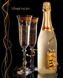 Champagne. Glasses of champagne with bottle Stock Photos