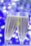 Champagne. Two frosty glasses of champagne ready for the midnight New Year's toast Stock Images