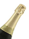 Champagne. Bottle-neck of champagne isolated over white background stock image
