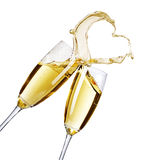 Champagne. Two Champagne Glasses with abstract heart splash