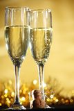 Champagne. Flutes of champagne in holiday setting,Closeup Stock Image