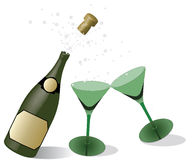 Champagne. Bottle of champagne with green glass Stock Image