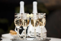 Champagne. Glasses with decorative flowers. wedding  decorative glasses Stock Photos