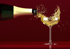 Champagne. Bottle of Champagne pouring into the glass, dynamic Stock Photos