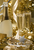 Champagne. Two glasses of champagne for christmas close up Stock Images