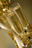 Champagne. Two glasses of champagne for christmas close up Royalty Free Stock Photography