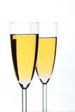 Champagne. Glass with champagne on a white background Royalty Free Stock Images