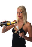 Champagne. A woman with a glass of champagne Royalty Free Stock Image