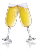 Champagne. Two glasses with by champagne on a white background Stock Images