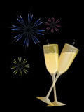 Champagne And Fireworks. Champagne Fireworks Illustration Black Background Stock Image