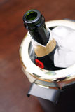 Champagne. Open bottle of champagne ready for special life event such as anniversary, birthday, engagement toast or Newy Year's stock image
