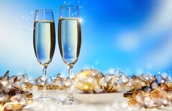 Champagne against blue background Stock Photo