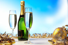 Champagne against blue background Stock Photography