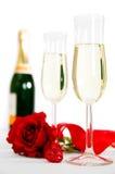 Champagne & Rozen Royalty-vrije Stock Fotografie