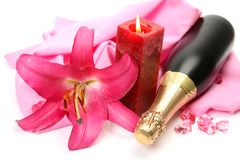 Champagne And Candle Stock Image