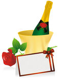 Champagne And Invitation Card Stock Photo