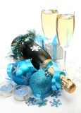 Champagne And New Year S Ornaments Royalty Free Stock Photo