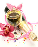 Champagne And Pink Orchids Stock Image