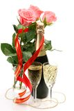 Champagne And Pink Roses Stock Photo