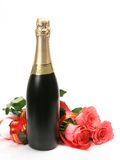 Champagne And Pink Roses Stock Photography