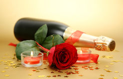 Champagne And Rose Stock Photography
