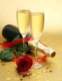 Champagne And Rose Royalty Free Stock Images