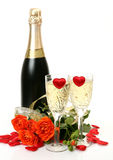 Champagne And Roses Stock Photos
