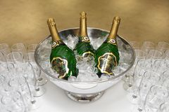 Champagne Asti Mondoro in a beautiful bucket of ice. Moscow. 31.12.2010 stock photography
