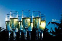 Champagne At Sunset On Beach Stock Photo